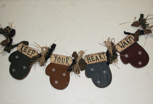 Hanging Wood Mitten Swag with Homespun Ties / Keep Your Heart Warm