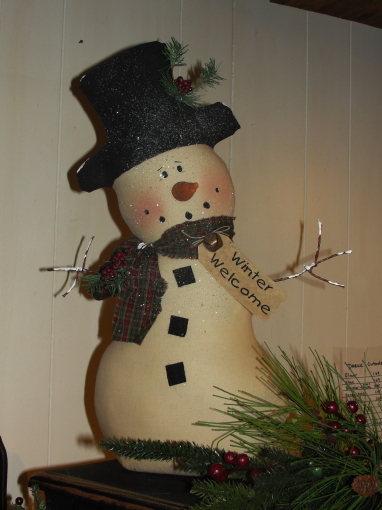 Primitive Tea-stained Leaning Snowman
