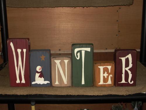 Frosty Winter Word Blocks...Burgundy / Blue