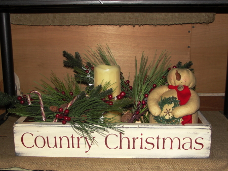 Country Christmas Primitive  Wood Table Box/Three sizes available