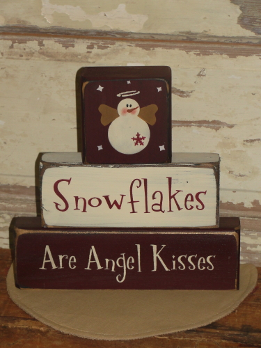 Snowflakes are Angel Kisses Stacking Block Set
