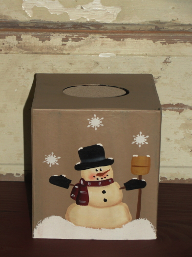 Snowman with Broom Tissue Box Holder-Tan color
