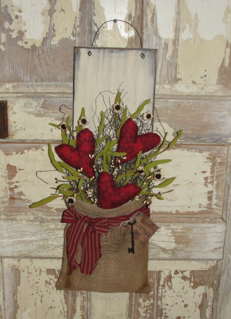 Primitive Heart Burlap Wall Board with Floral