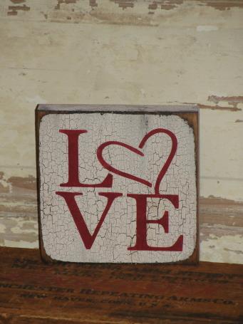 Crackled Finish Love Block Shelf Sitter