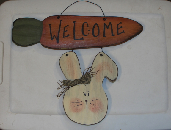 Primitive Bunny with Carrot Welcome Sign