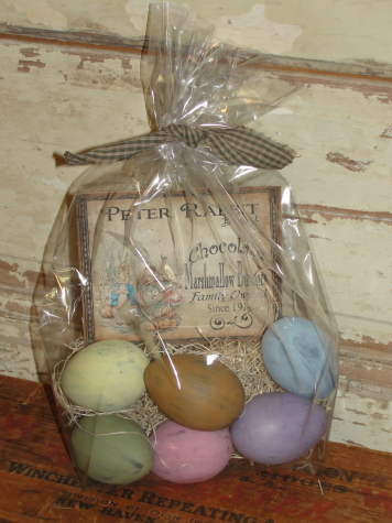 Primitive Pastel Distressed Eggs with Straw and Vintage Style Graphics