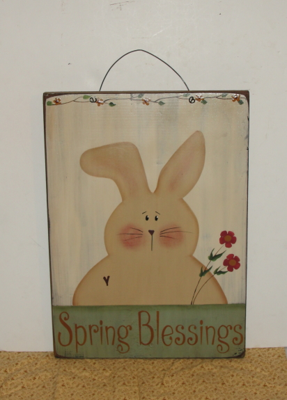 Primitive Spring Blessing Bunny Wood Sign with Mini Flowers