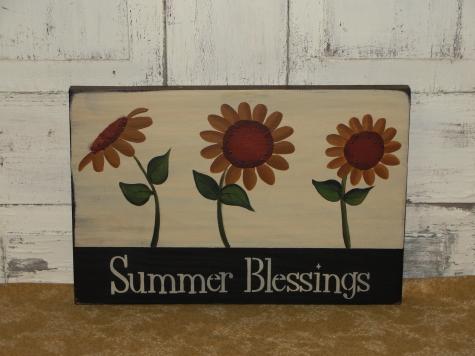 Primitive Summer Sunflower Wall Plaque