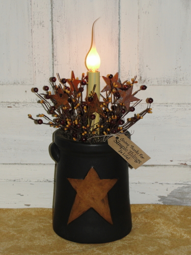 Tall Black Star Canister with Primitive Light and Berries