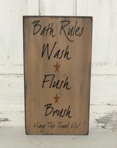 Bath Rules Primitive Wood Sign