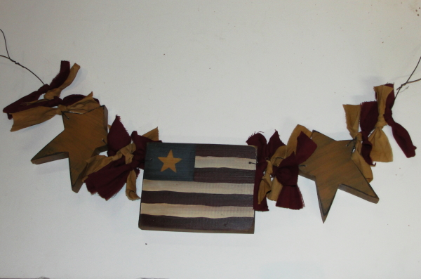 Primitive Americana Star and Flag Garland