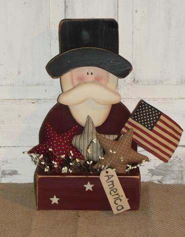 Primitive Uncle Sam Box - Homespun Stars/Pip Berries - Light Optional