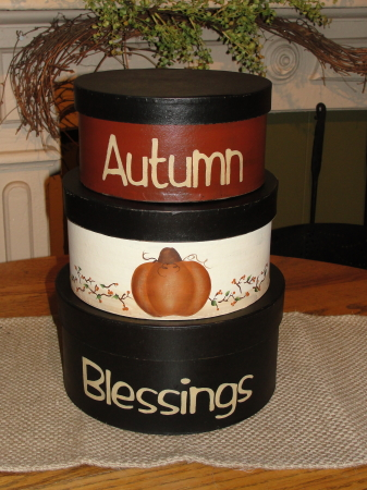 Autumn Blessings with Pumpkin and Bittersweet vine Handpainted Round Primitive Stacking Boxes - Set/3
