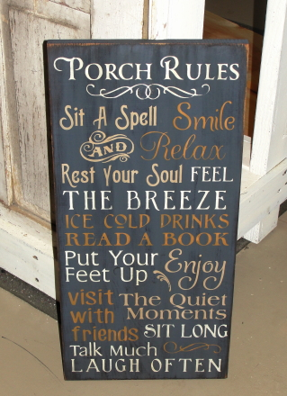 Porch Rules / Patio Rules Primitive Typography Wood Sign