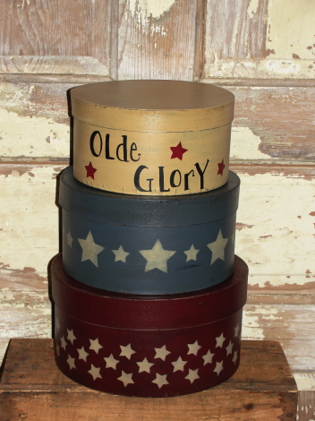 Olde Glory Star Round Nesting Boxes - Patriotic - Primitive Americana Decor