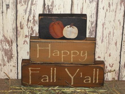 Primitive Happy Fall Y'all Pumpkin Block Set