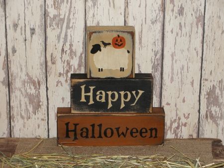 Primitive Happy Halloween Block Set with Sheep Crow Jack-O-face