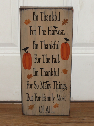 I'm Thankful For...Primitive Fall Wood Sign