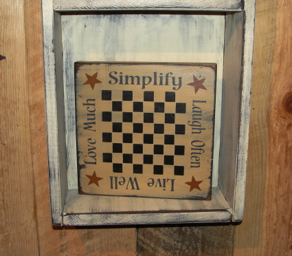 Simplify/Laugh Often/Live Well/Love Much...Primitive Gameboard