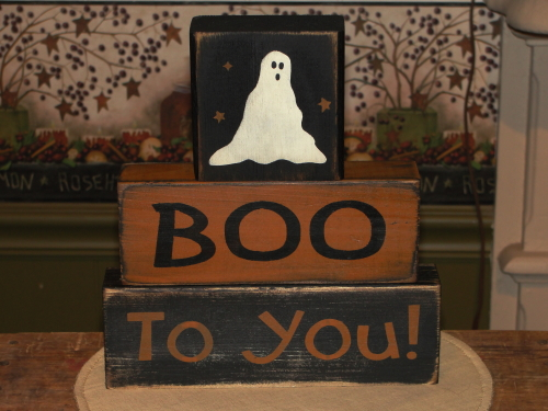 BOO to You Primitive Halloween Stacking Block set