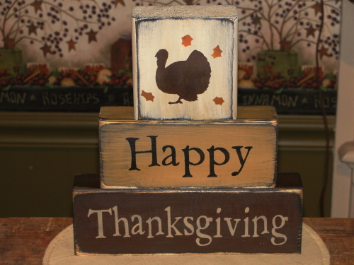 Happy Thanksgiving Primitive Fall Block Set