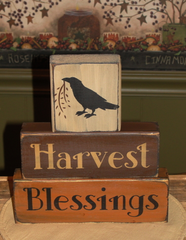 Harvest Blessings Primitive Wood Fall Stacking Block Set