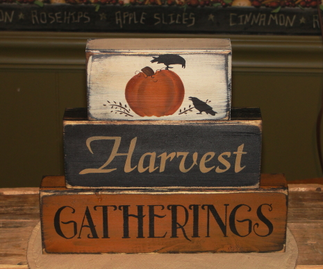 Harvest Gatherings Primitive Wood Stacking Blocks with Pumpkins and Crows