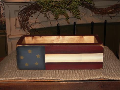 Primitive Americana Flag Wood Box