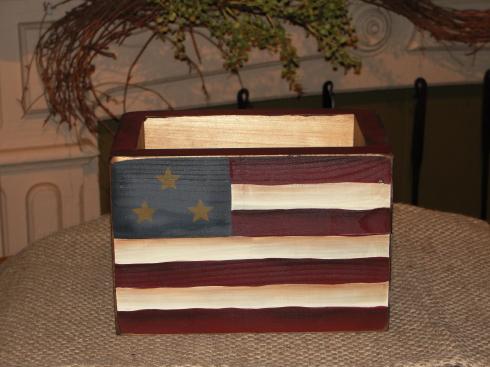 Americana Flag Primitive Wood Box