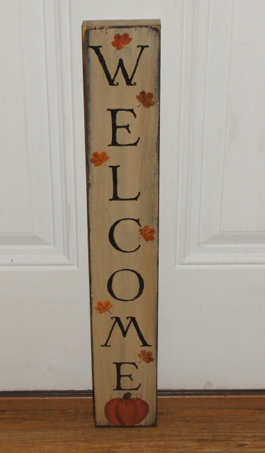 Primitive Welcome Fall Wood Sign with Pumpkin and Leaves