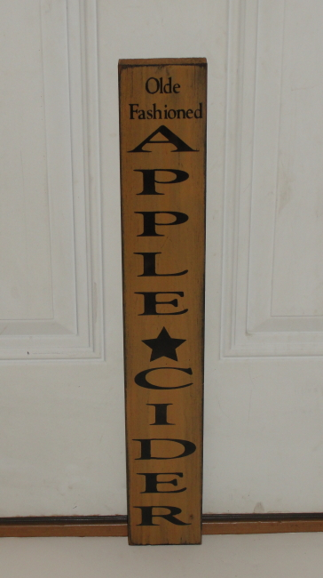 Primitive Olde Fashioned Apple Cider Vertical Wood Sign