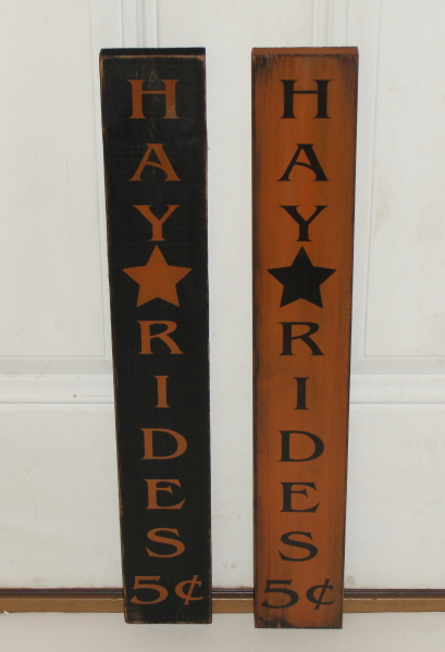 Hay Rides 5 cents Primitive Wood Fall Vertical Sign