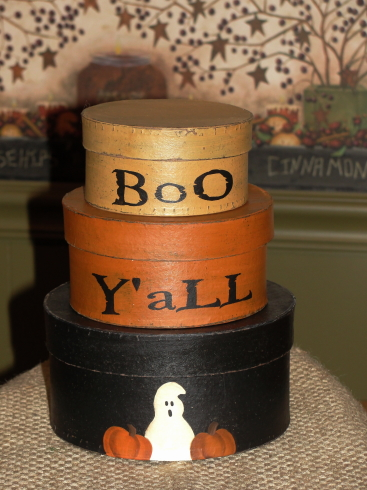 Boo Y'all Ghost and Pumpkin Halloween Round Stacking Boxes