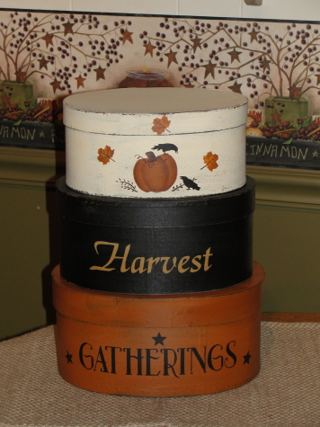 Harvest Gatherings Hand Painted Primitive Oval Stacking Boxes -Set/3