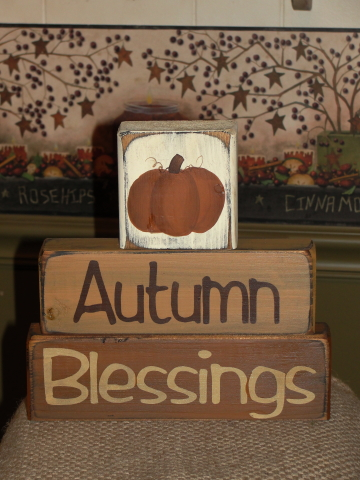 Primitive Autumn Blessings Pumpkin Stacking Blocks