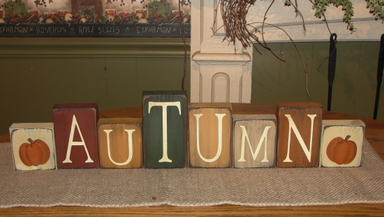 Primitive Wood Autumn Block set with Hand painted Pumpkin Blocks