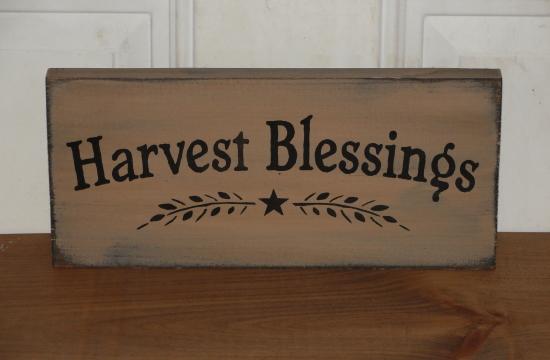 Harvest Blessings Primitive Wood Sign