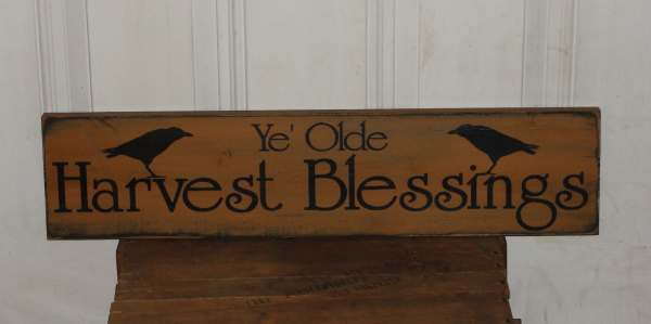 Ye' Olde Harvest Blessings Primitive Wood Sign with Crows