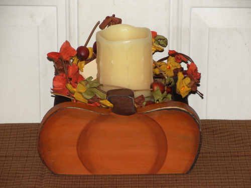 Handmade Primitive Fall Pumpkin Candle Holder Box