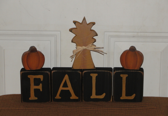 Primitive Fall Block Set With Pumpkins and Cornshalk