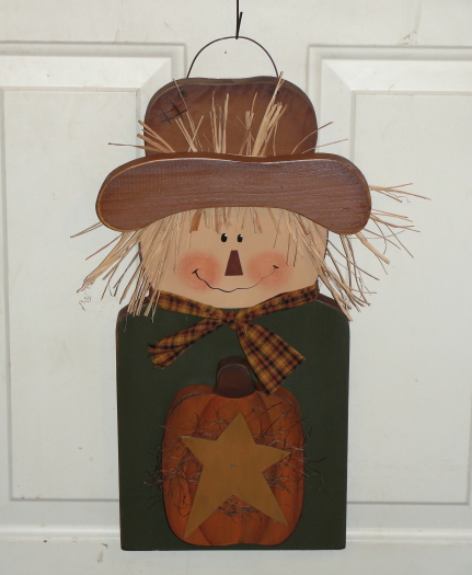 Hanging Primitive Fall Scarecrow With Pumpkin and Primitive Star