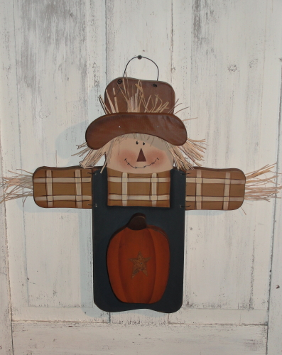 Primitive Wood Hanging Fall Scarecrow with Arms Extended and Pumpkin
