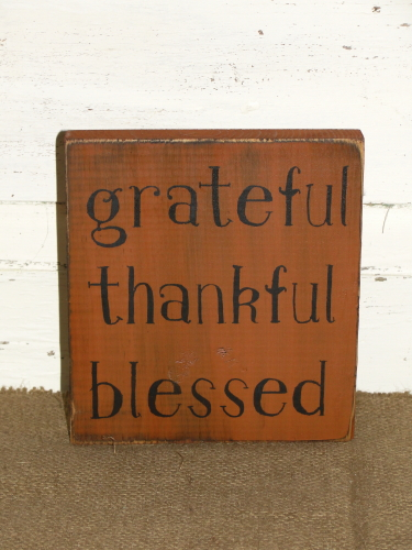 Grateful Thankful Blessed Primitive Block Sitter