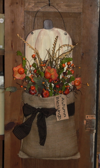 Primitive Fall White Pumpkin Wall Board with Prim Fall Florals Homespun and Grungy Tag