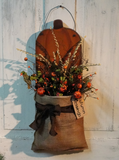 Primitive Fall Pumpkin Wall Board with Prim Fall Florals Homespun and Grungy Tag