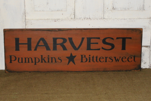 HARVEST Pumpkins Bittersweet Primitive Fall and Thanksgiving Primitive Wood Sign