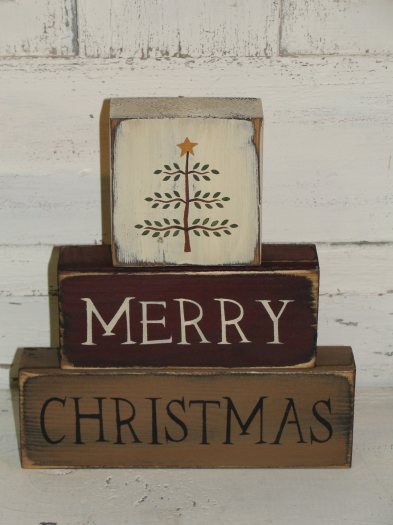 Merry Christmas with Primitive Tree Wood Block set