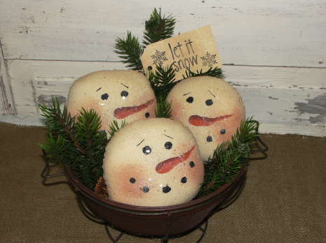 Primitive Tea-stained Snowman Face Bowl Fillers with Pine Accents/Grungy Tag