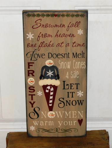 Snowmen Fall From Heaven One Flake at a Time ....Typography Sign