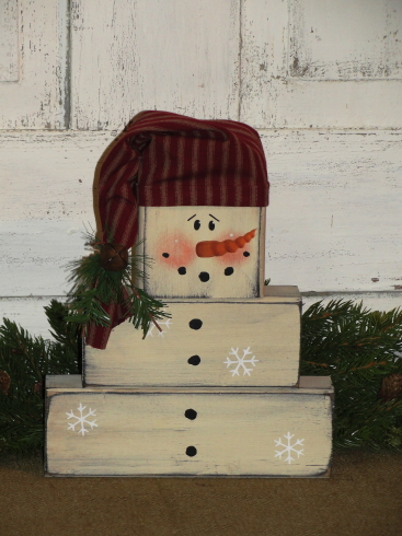 Primitive Snowman Wood Block Set with Homespun Hat